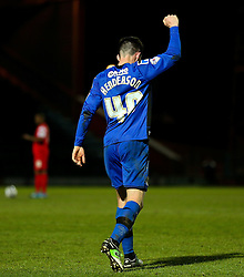 Rochdale's Ian Henderson celebrates after scoring the opening goal to make it 1-0 - Photo mandatory by-line: Matt McNulty/JMP - Mobile: 07966 386802 - 21/04/2015 - SPORT - Football - Rochdale - Spotland Stadium - Rochdale v Leyton Orient - Sky Bet League One