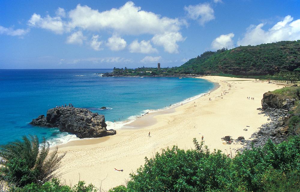 Waimea Bay Beach Park on a calm summer day; North Shore Oahu, Hawaii.