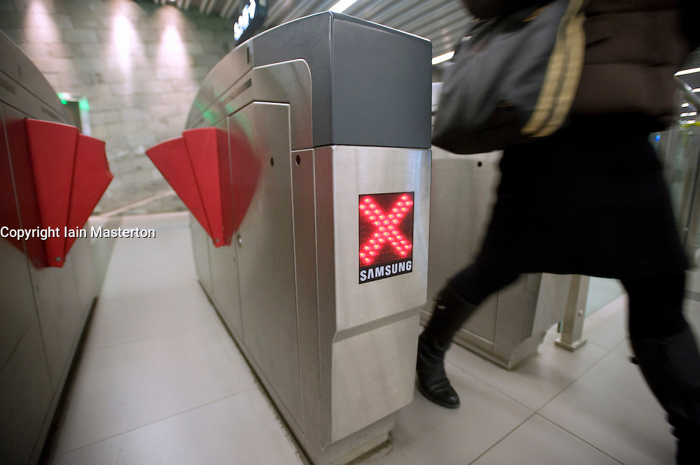 Modern ticket gates at entrance to new subway line station in Beijing China 2009