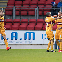 St Johnstone v MotherwellÖ17.12.16     McDiarmid Park    SPFL<br /> Richard Tait celebrates his goal with Keith Lasley<br /> Picture by Graeme Hart.<br /> Copyright Perthshire Picture Agency<br /> Tel: 01738 623350  Mobile: 07990 594431