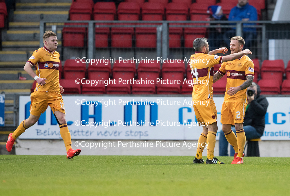 St Johnstone v Motherwell&Ouml;17.12.16     McDiarmid Park    SPFL<br /> Richard Tait celebrates his goal with Keith Lasley<br /> Picture by Graeme Hart.<br /> Copyright Perthshire Picture Agency<br /> Tel: 01738 623350  Mobile: 07990 594431