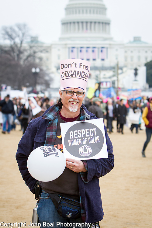 "Walter Hjelt, traveled from Philadelphia bringing 3 buses of Haverford College students to participate in the Women's March on Washington where an anticipated 200,000 people turned into an estimated 500,000 to 1 million people, on Saturday, January 21, 2017.  when asked about his hopes for the next 4 years, Hjelt said, ""...that some of what Ivanka's dad said about getting jobs for people who were left out, actually happens...that the moral bankruptcy of the Republican party is revealed and they come up with a better agenda...and I hope we don't go to war..."" John Boal Photography"
