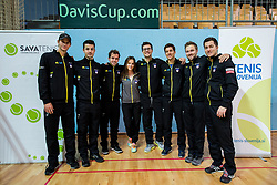 Blaz Rola, Mike Urbanija, Nik Razborsek, Miha Mlakar, Aljaz Bedene, Tom Kocevar Desman and Andraz Bedene of Slovenia after  the Day 2 of Davis Cup 2018 Europe/Africa zone Group II between Slovenia and Poland, on February 4, 2018 in Arena Lukna, Maribor, Slovenia. Photo by Vid Ponikvar / Sportida