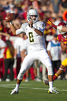 03 November 2012: Quarterback (8) Marcus Mariota of the Oregon Ducks passes the ball against the USC Trojans during the first half of Oregon's  62-51victory over USC at the Los Angeles Memorial Coliseum in Los Angeles, CA.