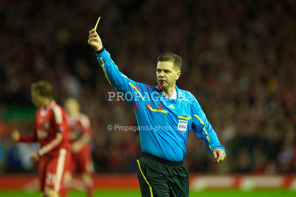 LIVERPOOL, ENGLAND - Thursday, April 29, 2010: Referee Terje Hauge during the UEFA Europa League Semi-Final 2nd Leg match between Liverpool and Club Atletico de Madrid at Anfield. (Photo by: David Rawcliffe/Propaganda)