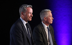 ATP Executive Chairman & President, Chris Kermode (left) and Tennis Australia CEO, Craig Tiley speak during the ATP Team Competition Announcement during day five of the Nitto ATP Finals at The O2 Arena, London.