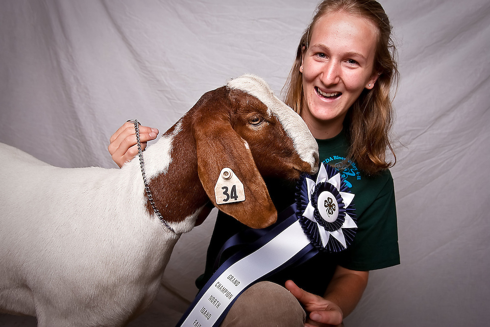 JEROME A. POLLOS/Press..Josi Thyr first began working with animals in 4-H when she was 9 and raised her first got two years later. The 15 year old works with goats because they are smaller and can be used for milk and meat. Her 7-month-old boer-cross bred Arwen earned her a grand champion ribbon for market.