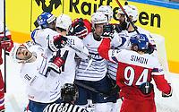 Baston Jaromig Jagr / Antoine Roussel / Laurent Meunier - 07.05.2015 - Republique Tcheque / France - Championnat du Monde de Hockey sur Glace <br />Photo : Xavier Laine / Icon Sport
