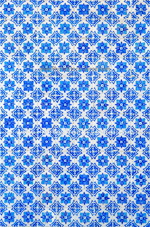 Traditional Portuguese seamless ceramic tiles used to decorate the outside walls of houses and buildings. Photographed in Portugal