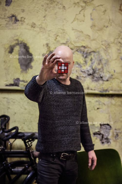 Switzerland, Zurich: swiss artist Roland Roos and his swiss Rubik's cube
