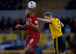 WOLVERHAMPTON, ENGLAND - Monday, January 7, 2019: Liverpool's Daniel Sturridge (L) and Wolverhampton Wanderers' Ryan Bennett during the FA Cup 3rd Round match between Wolverhampton Wanderers FC and Liverpool FC at Molineux Stadium. (Pic by David Rawcliffe/Propaganda)