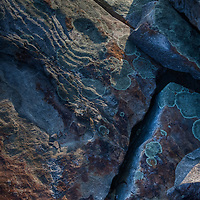 An HDR abstract of fractured talus boulders and lichen taken near sunset at Blackrock Summit, Shenandoah National Park, VA