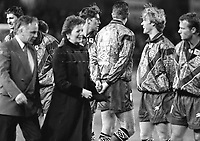 President Mary Robimson accompanied by Sean Connolly, General Secretary of the FAI at the Ireland v England at Landsdowne Road. Following the Irish goal a riot erupted and the game was abandoned. 15/2/1995 (Part of the Independent Newspapers Ireland/NLI Collection)