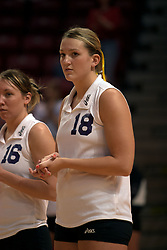 25 September 2004    UNI Starters Erin Hirsch (16) and Danielle Brazda (18).    Illinois State University Redbirds V University of Northern Iowa Panthers Volleyball.  Redbird Arena, Illinois State University, Normal IL