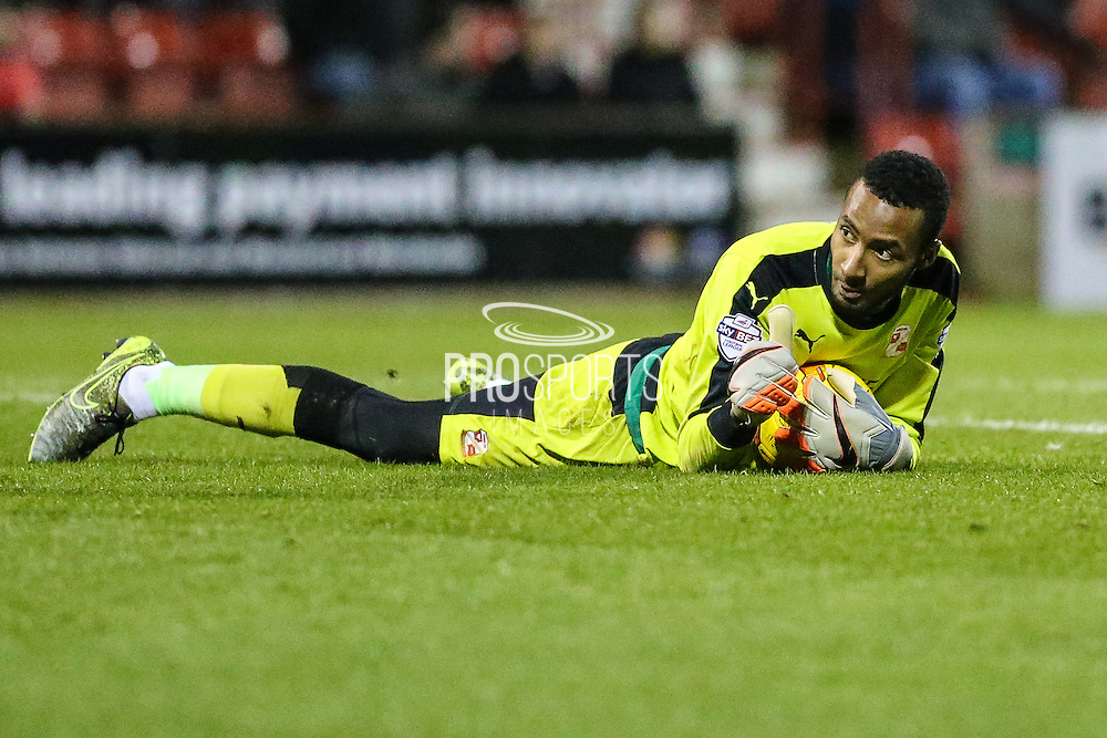 Thumbs up from Swindon Town's Lawrence Vigouroux during the Sky Bet League 1 match between Swindon Town and Walsall at the County Ground, Swindon, England on 24 November 2015. Photo by Shane Healey.