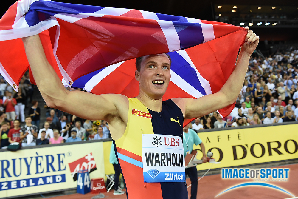 Karsten Warholm (NOR) poses with Norwegian flag after winning the 400m hurdles in a meet record 46.92 to become the third man to run under 47 seconds in the IAAF Diamond League final during the Weltkasse Zurich at Letzigrund Stadium, Thursday, Aug. 29, 2019, in Zurich, Switzerland. (Jiro Mochizuki/Image of Sport)