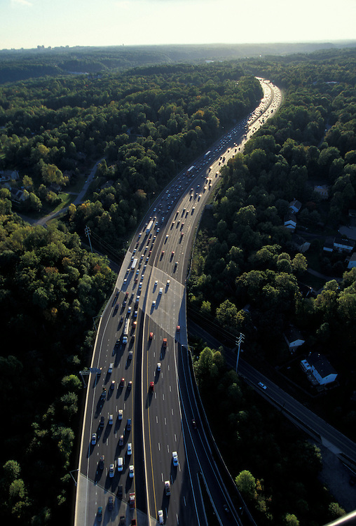 USA, Maryland, Aerial view of rush hour traffic in Montgomery County along Washington, DC Beltway
