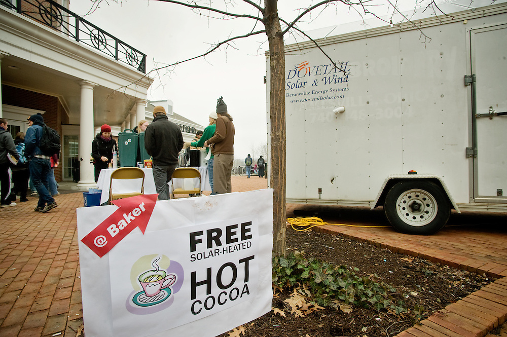 The Office of Sustainability provided free solar-powered hot cocoa to students outside the Baker Center on Tuesday, January 19, 2010.