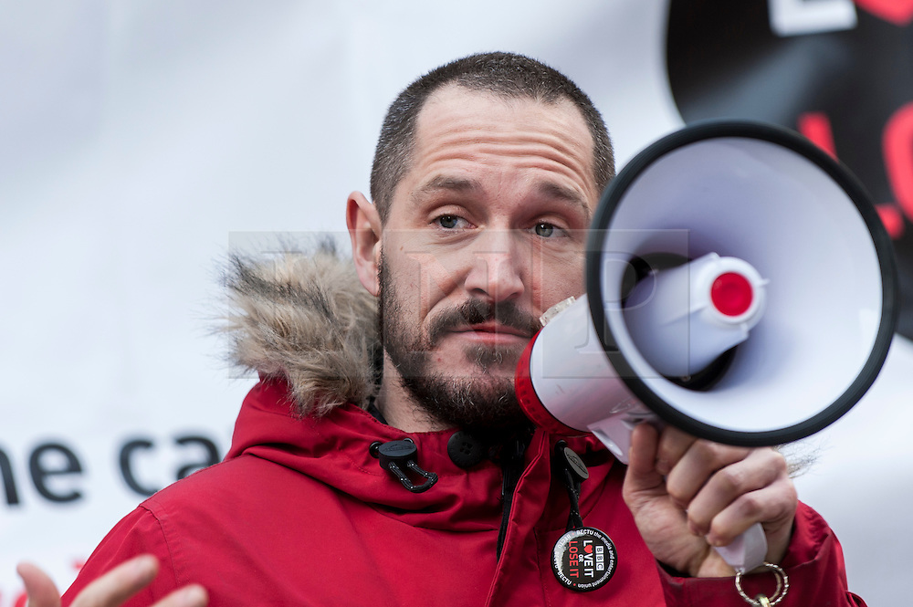 "© Licensed to London News Pictures. 23/11/2015. LONDON, UK. Actor, Bertie Carvel, addresses fans of Doctor Who known as ""Whovians"" and other supporters of the BBC gathered outside Broadcasting House in central London to oppose the threat of 20% government cuts to the Corporation. Photo credit : Stephen Chung/LNP"
