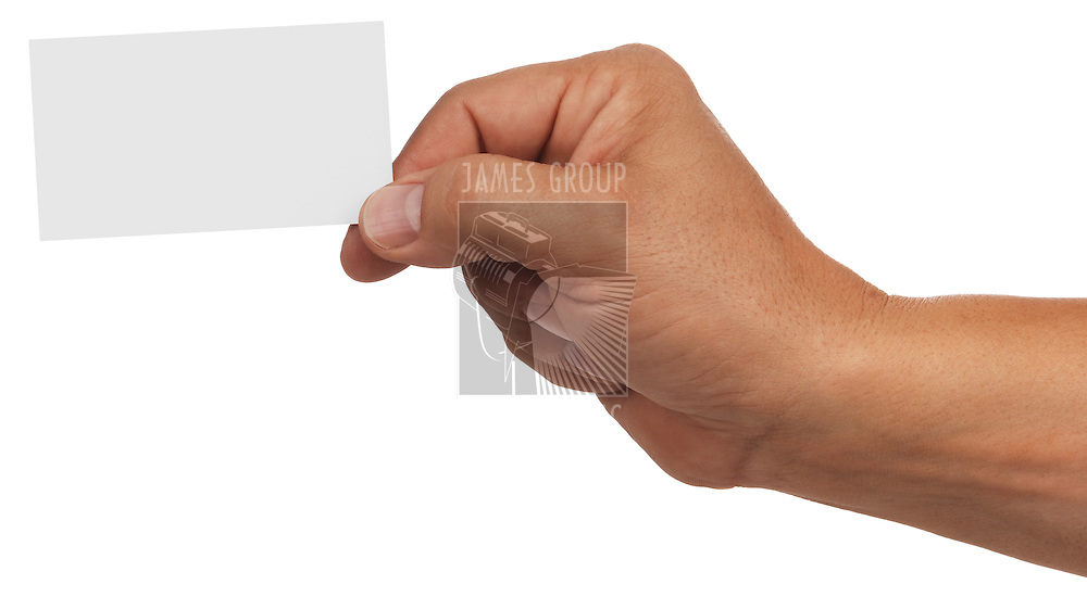 man's hand holding blank business card