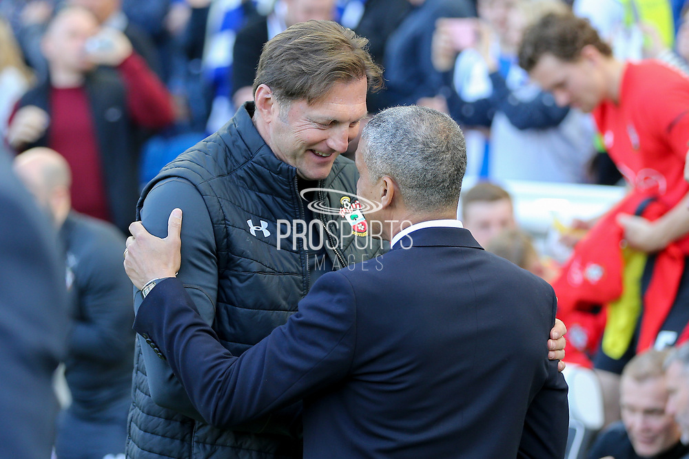 Brighton and Hove Albion manager Chris Hughton greets Southampton manager Ralph Hasenhuttl during the Premier League match between Brighton and Hove Albion and Southampton at the American Express Community Stadium, Brighton and Hove, England on 30 March 2019