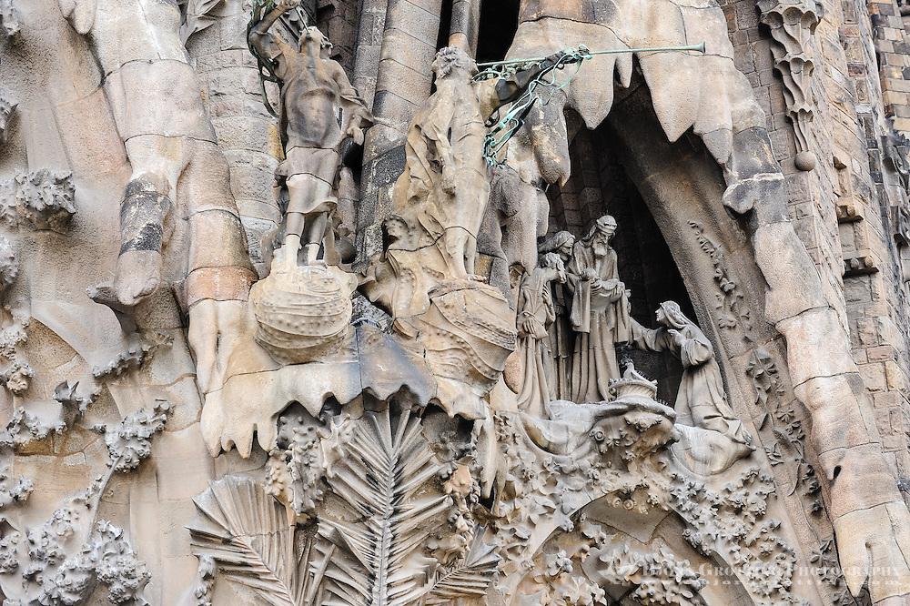 Spain, Barcelona. The Sagrada Família designed by Antoni Gaudí. Nativity Facade.