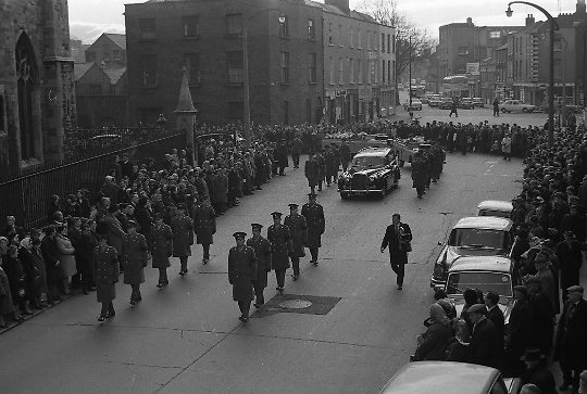 The State Funeral of Sir Alfred Chester Beatty. The funeral procession en route to Glasnevin Cemetery..29.01.1968