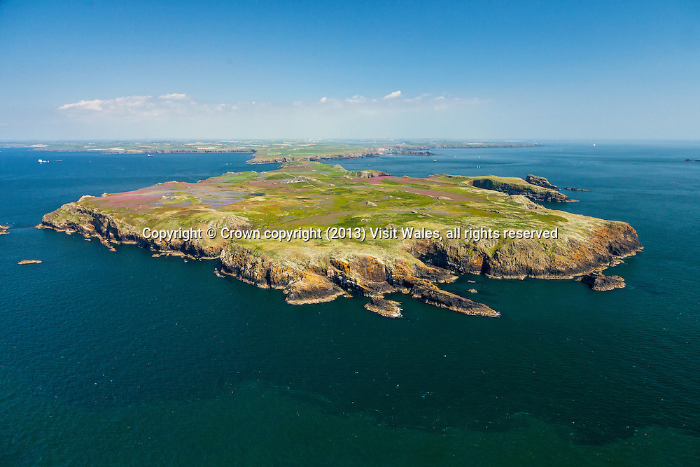 Skomer<br /> Aerial view of island<br /> Low view looking back towards mainland<br /> Pembrokeshire<br /> South<br /> Coastal Scenery