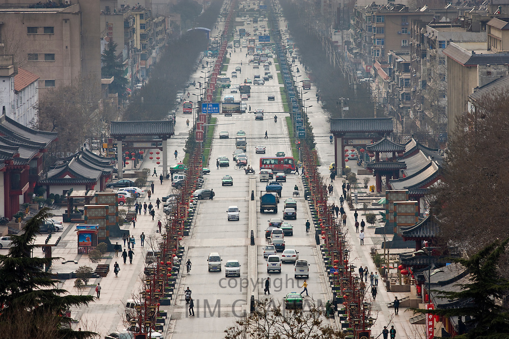 View of street in Xian seen from the Dayan Pagoda, China