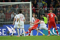 12.10.2012, Stade de Suisse, Bern, SUI, FIFA WM Qualifikation, Schweiz vs Norwegen, im Bild Mario Gavranovic (SUI) schiesst das Tor zum 1:0 gegen Alexander Toft Soderlund (NOR), Tarik Elyounoussi (NOR)Markus Henriksen (NOR) und Espen Ruud (NOR) (R) Eren Derdiyok (SUI) // during FIFA World Cup Qualifier Match between Switzerland and Norway at the Stade de Suisse, Bern, Switzerland on 2012/10/12. EXPA Pictures © 2012, PhotoCredit: EXPA/ Freshfocus/ Valeriano Di Domenico..***** ATTENTION - for AUT, SLO, CRO, SRB, BIH only *****
