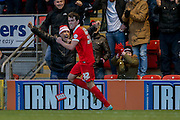 Leyton Orient forward, on loan from Millwall, John Marquis  celebrates Leyton Orient forward Jay Simpson goal during the Sky Bet League 2 match between Leyton Orient and York City at the Matchroom Stadium, London, England on 21 November 2015. Photo by Simon Davies.