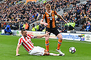 Stoke City defender Phillip Bardsley (2) tackles Hull City midfielder Sam Clucas (11)during the Premier League match between Hull City and Stoke City at the KCOM Stadium, Kingston upon Hull, England on 22 October 2016. Photo by Ian Lyall.