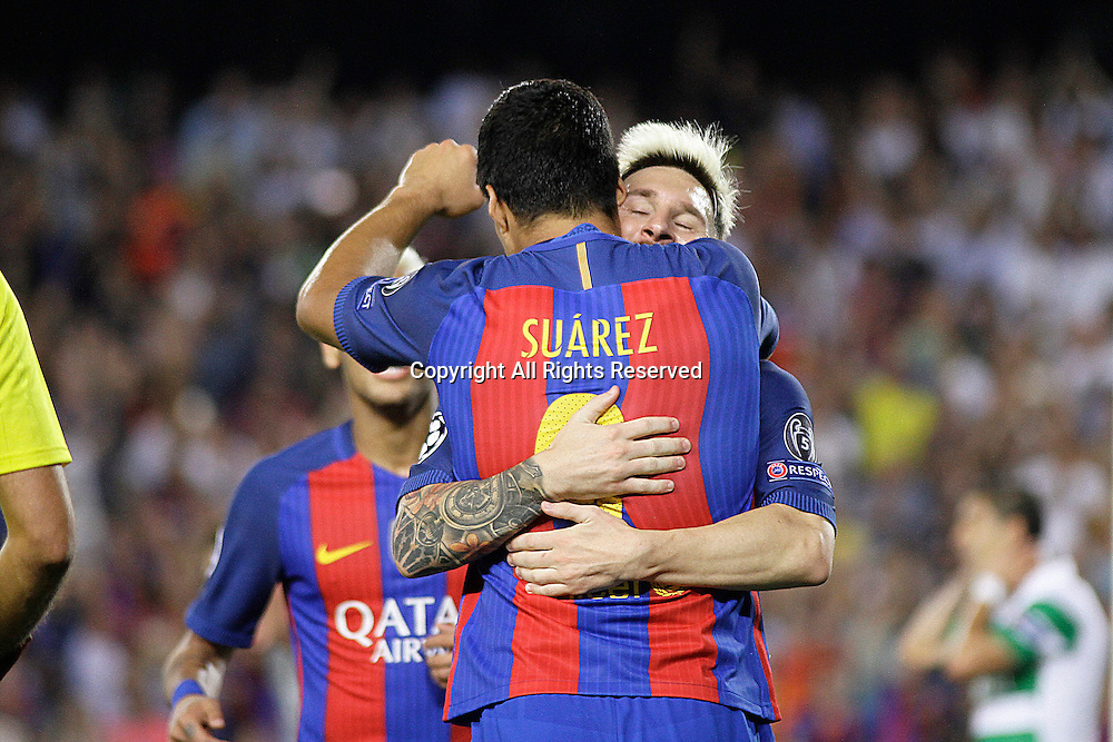 13.09.2016. Nou Camp, Barcelona, Spain. UEFA Champions League Football. Barcelona versus Celtic. Messi celebrating his third goal with Suarez