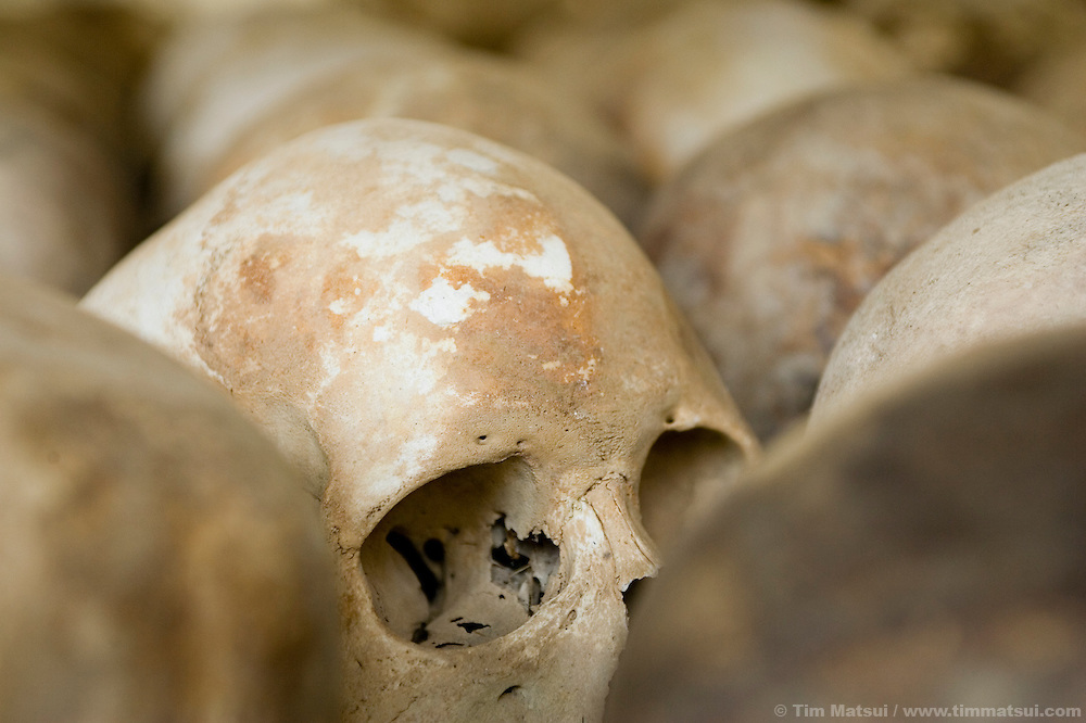 Inside the memorial charnel house containing the skulls of 8000 victims at Choeung Ek where mass graves were excavated at the Khmer Rouge Killing Field near Phnom Penh, Cambodia. 129 mass graves were found of which 86 were excavated. Upwards of 20,000 People were killed by bludgeon, knife, and poison at Choeung Ek, at times at a rate of 300 per day. An estimated 3 million people lost their lives, killed or starved, during the reign of the Khmer Rouge from 1975-1979.