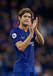 LONDON, ENGLAND - Sunday, September 22, 2019: Chelsea's Marcos Alonso applauds the supporters after the FA Premier League match between Chelsea FC and Liverpool FC at Stamford Bridge. Liverpool won 2-1. (Pic by David Rawcliffe/Propaganda)