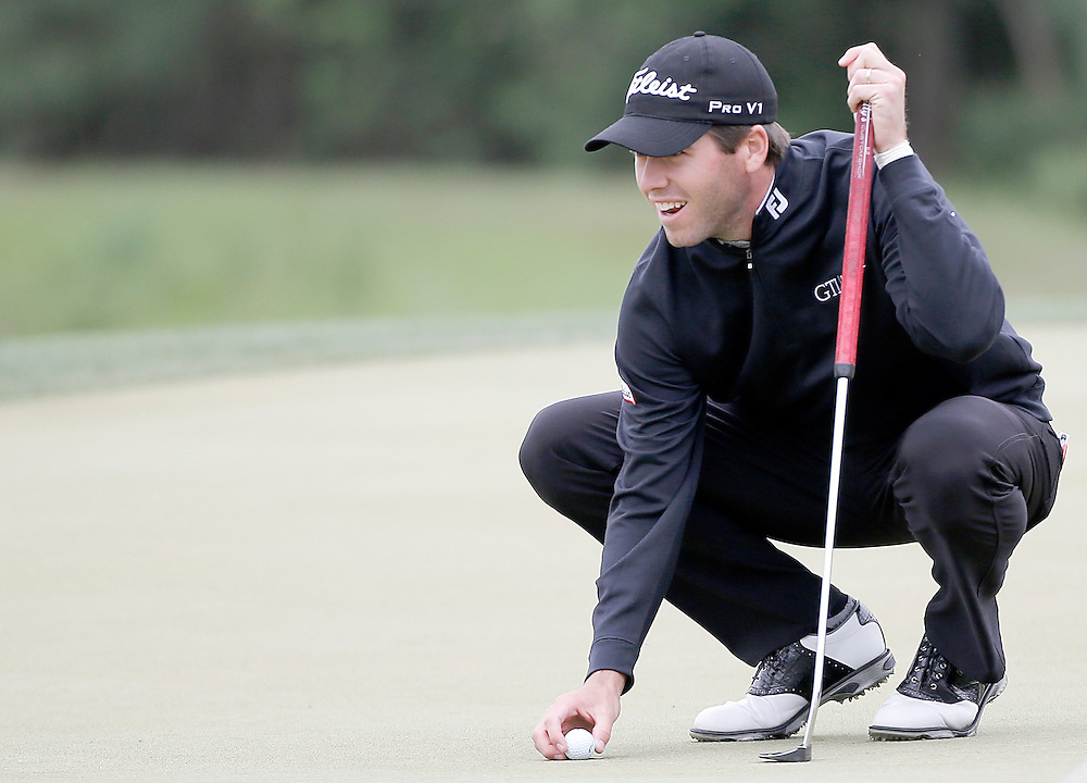 Ben Martin lines up his putt on the 7th green during the second round of the Shell Houston Open golf tournament at the Golf Club of Houston on , Friday, April 1, 2016, in Humble, Texas.  (Photo: Thomas B. Shea/For the Chronicle)