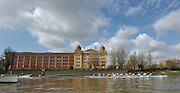Putney, GREAT BRITAIN,  Tuesday Morning,  Cambridge and Goldie passing Harrods depository during their Training Outing, Tideway week ,on the championship course. Putney/Mortlake, Tuesday   03/04/2012 [Mandatory Credit, Peter Spurrier/Intersport-images]