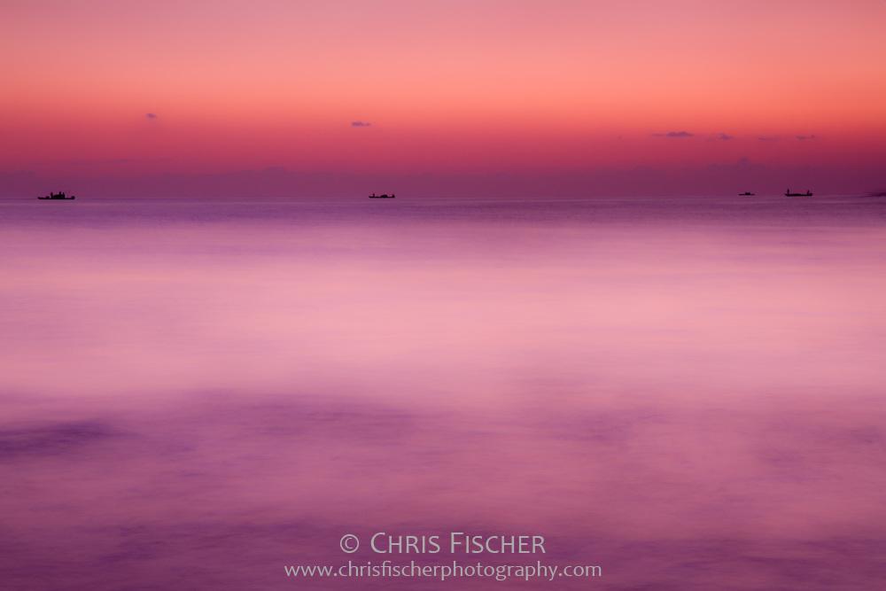 Tranquil sunrise over the Gulf of Oman, Fujairah, UAE.