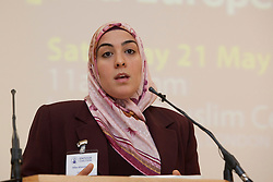 "© under licence to London News Pictures. LONDON, 21/05/2011. Hiba Aburewein of the European Forum on Muslim Women appearing at conference ""Confronting Anti-Muslim Hatred in Britain and Europe"". London Muslim Centre. Photo credit should read BETTINA STRENSKE/LNP"
