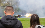 UNITED KINGDOM, London: 24 April 2018. Soldiers, horses and guns of The King's Troop Royal Horse Artillery fire a forty one round salute in Hyde Park this afternoon to mark the birth of the Duke and Duchess of Cambridge's third child, who was born yesterday. Rick Findler / Story Picture Agency