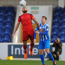 TELFORD COPYRIGHT MIKE SHERIDAN 22/12/2018 - Shane Sutton heads clear for Telford during the Vanarama Conference North fixture between Chester FC and AFC Telford United at the Swansway Deva Stadium, Chester.