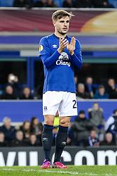 Everton's Luke Garbutt applauds the fans - Photo mandatory by-line: Matt McNulty/JMP - Mobile: 07966 386802 - 26/02/2015 - SPORT - Football - Liverpool - Goodison Park - Everton v Young Boys - UEFA EUROPA LEAGUE ROUND OF 32 SECOND LEG