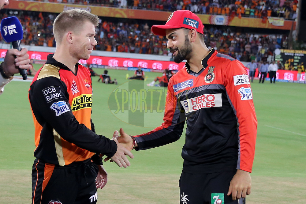 Sunrisers Hyderabad and Royal Challengers Bangalore Skippers David Warner and Virat Kholi during the toss   during match 27 of the Vivo IPL 2016 (Indian Premier League ) between the Sunrisers Hyderabad and the Royal Challengers Bangalore held at the Rajiv Gandhi Intl. Cricket Stadium, Hyderabad on the 30th April 2016<br /> <br /> Photo by Faheem Hussain / IPL/ SPORTZPICS