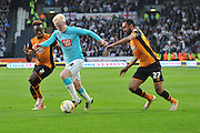 Hull City midfielder Moses Odubajo (2) Derby County's Will Hughes (19) and Hull City midfielder Ahmed Elmohamady (27)during the Sky Bet Championship play off 2nd leg match between Hull City and Derby County at the KC Stadium, Kingston upon Hull, England on 17 May 2016. Photo by Ian Lyall.