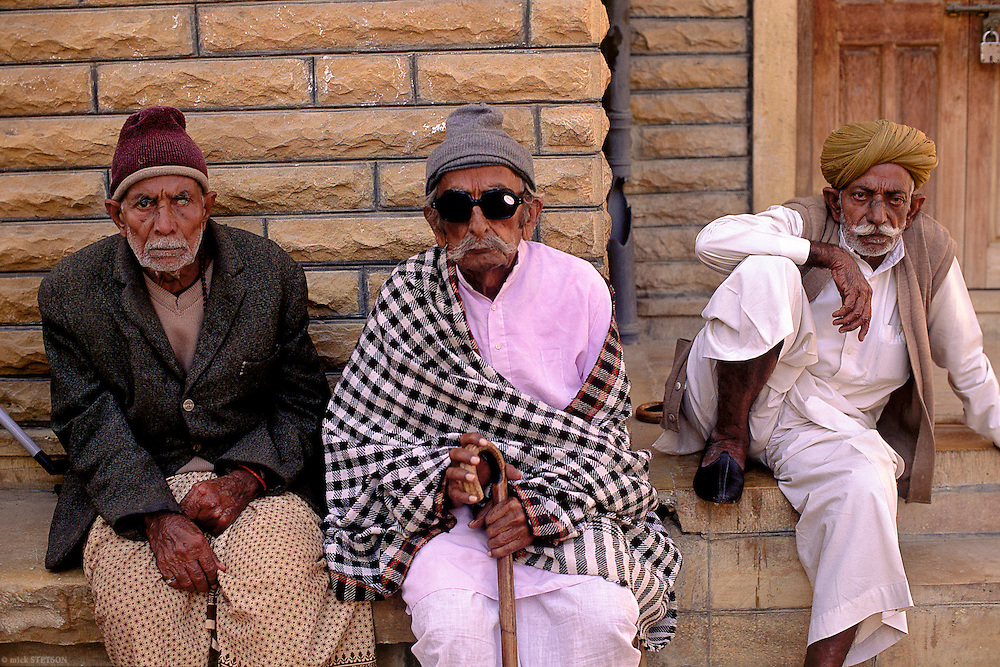— In a small village in Rajasthan, three friends meet in the afternoon to catch up on the latest news.