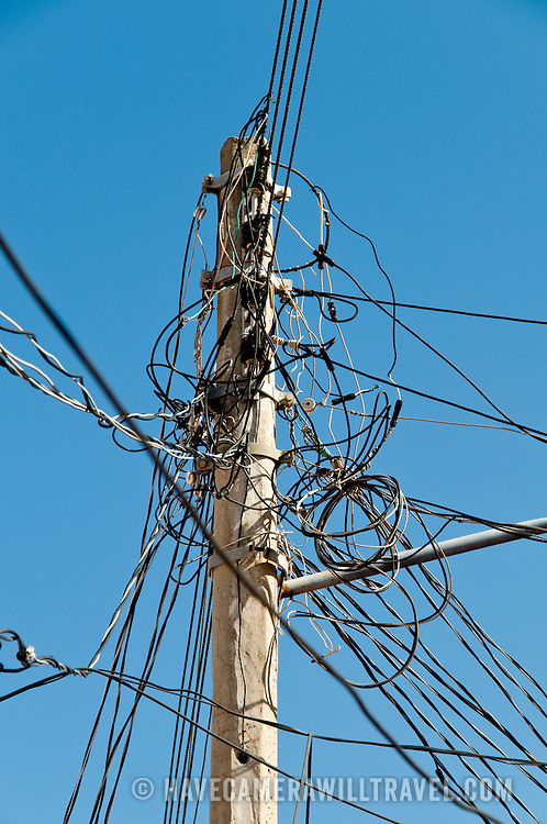 Tangle of power lines at Zihuatanejo, Mexico