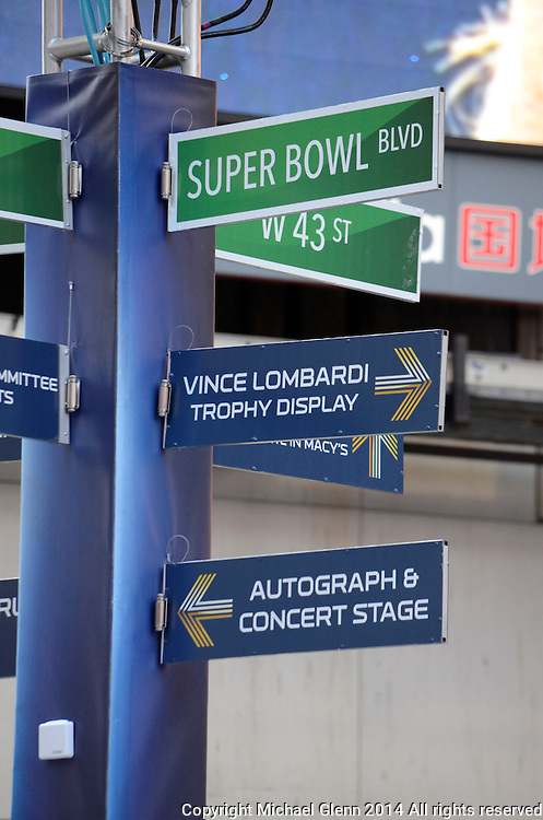 29 Jan 2014 NYC  Street signs point the way at Superbowl boulevard in NYC //  Michael Glenn