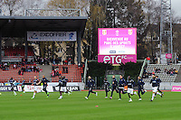 AMBIANCE ECHAUFFEMENT / EQUIPE DE EVIAN - 07.12.2014 - Evian Thonon / Lyon - 17eme journee de Ligue 1 -<br /> Photo : Jean Paul Thomas / Icon Sport