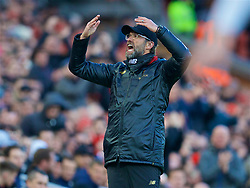 LIVERPOOL, ENGLAND - Saturday, February 9, 2019: Liverpool's manager Jürgen Klopp reacts during the FA Premier League match between Liverpool FC and AFC Bournemouth at Anfield. (Pic by David Rawcliffe/Propaganda)