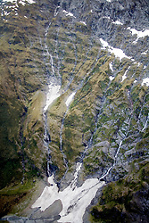 Mount Aspiring National Park:  Aerial view of unnamed mountain peak/ridges.
